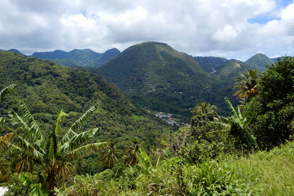 Scenic view of the valley in St Lucia